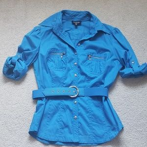 Size L Blue Business Blouse by Bebe